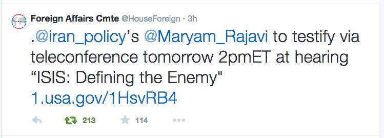 Maryam Rajavi to Testify
