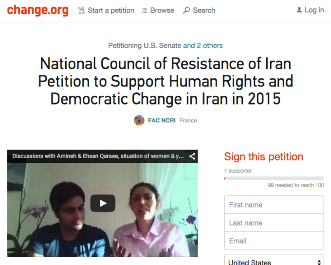 Change.org Petition - National Council of Resistance in Iran